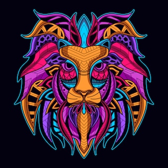 Cara de león en color neón