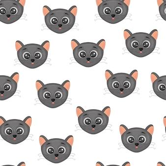 Cara linda, una cabeza de gatos coloridos patrones sin fisuras.