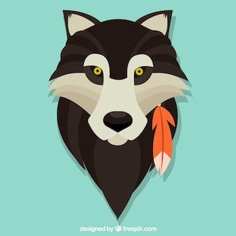 Cara de lobo de diseño plano