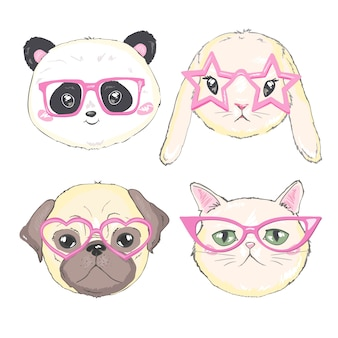 Cara de mascotas, perros, gatos y conejos