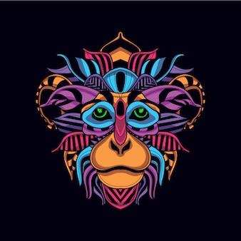 Cara de mono decorativa en color neón resplandor.