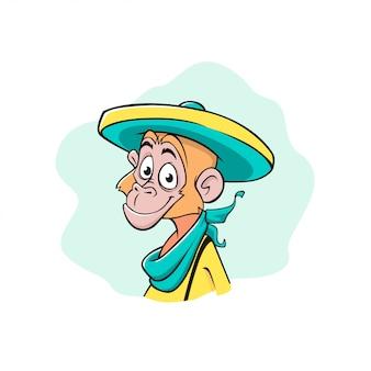 La cara de un mono en un sombrero mexicano. dibujos animados, ilustración de estilo de color