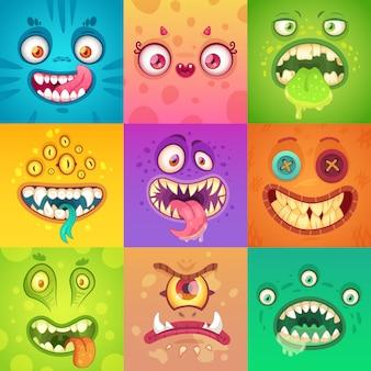 Cara de monstruo lindo y aterrador con ojos y boca. personajes de la mascota de halloween
