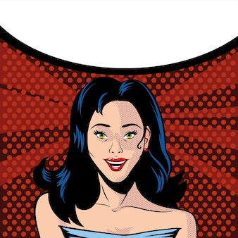 Cara de mujer hermosa sorprendida y bocadillo, diseño de ilustración de estilo pop art