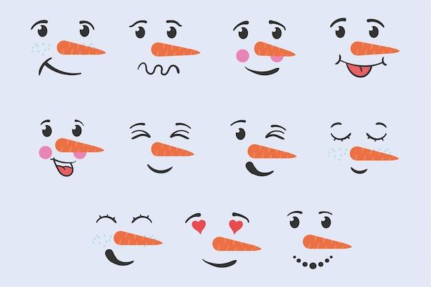 Cara de muñeco de nieve con expresiones de emociones dibujadas a mano doodle vacaciones de invierno navidad y año nuevo