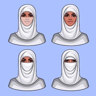 Cara de niña bonita en pañuelo de cabeza de religión musulmana