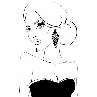 Cara de niña hermosa retrato de modelo de belleza