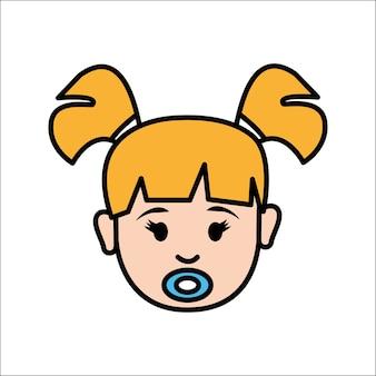 Cara de niña con icono de avatar de chupete
