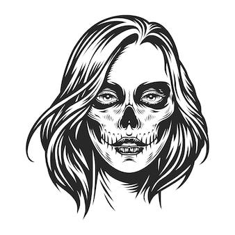 Cara de niña de maquillaje del día de muertos