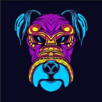 Cara de perro brilla en la oscuridad