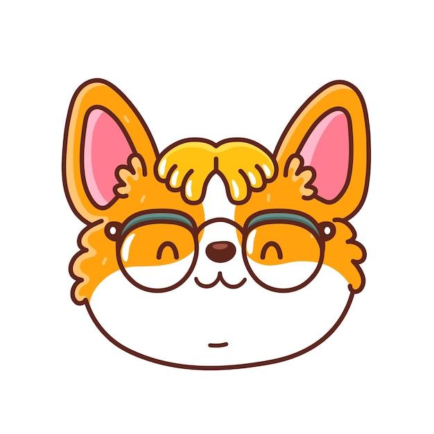 Cara de perro corgi feliz lindo en gafas geek. icono de personaje de dibujos animados kawaii.