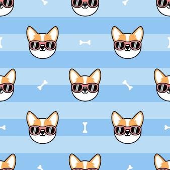 Cara de perro corgi galés lindo con gafas de sol de dibujos animados de patrones sin fisuras, ilustración