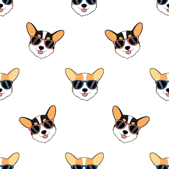 Cara de perro lindo corgi con patrones sin fisuras de dibujos animados de gafas de sol