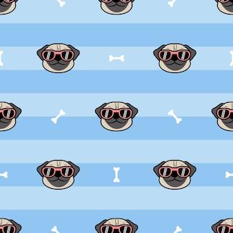 Cara de perro pug lindo con gafas de sol de dibujos animados de patrones sin fisuras