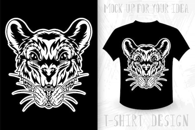 Cara de ratón idea de diseño para impresión de camiseta en estilo monocromo vintage.