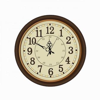 Cara de reloj vieja del vintage aislada en el fondo blanco
