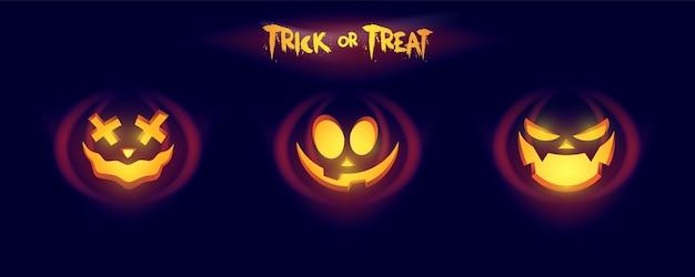 Cara resplandeciente de calabaza aislada sobre fondo oscuro. calabaza tallando caras con ojos y boca. ilustración de halloween divertida y aterradora.