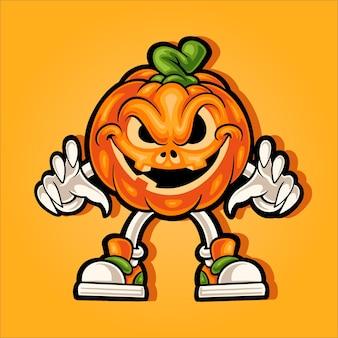 Cara sonriente mascota de calabaza de halloween