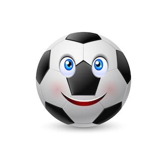 Cara sonriente en pelota de fútbol. ilustración en blanco