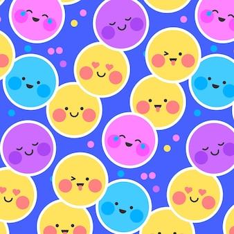 Cara sonrisa emoji y patrón de puntos