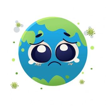 Cara de la tierra llorando debido al virus corona covid19, diseño de ilustración de doodle de dibujos animados de personajes