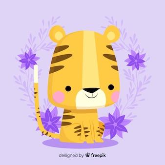Cara de tigre adorable con diseño plano