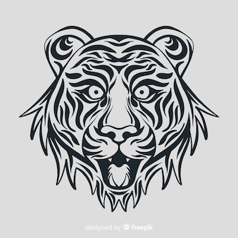 Cara de tigre con estilo tribal
