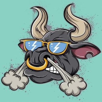 Cara de toro enojado