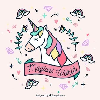 Cara de unicornio y elementos tiernos dibujado a mano
