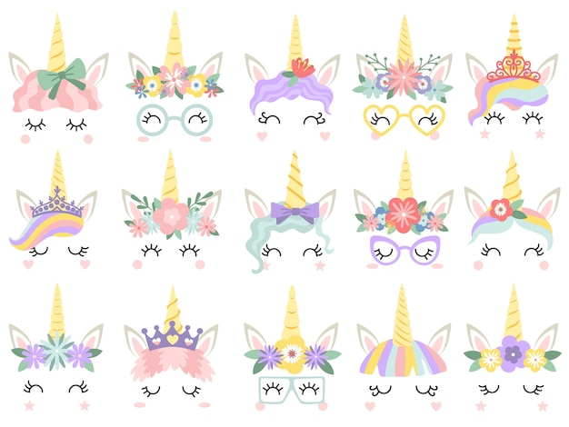 Cara de unicornio hermosas caras de unicornios de pony, cuerno mágico en guirnalda de flores de arco iris y pestañas lindas conjunto de ilustración vectorial