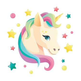 Cara de unicornio lindo en estilo plano para ropa o como logotipo insignia icono tarjeta cartel camiseta invitación banner plantilla