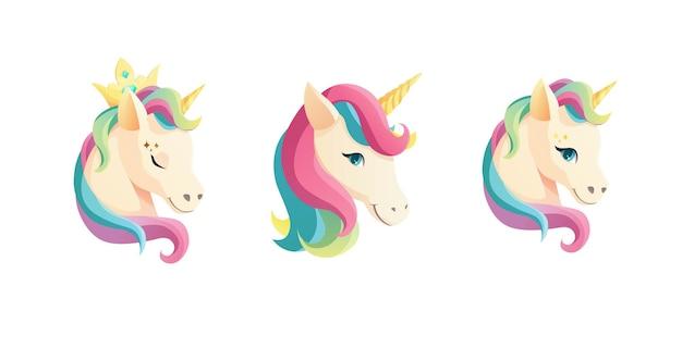 Cara de unicornio lindo en estilo plano.