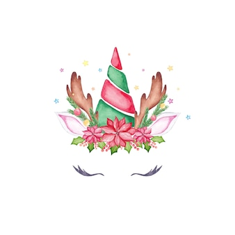 Cara de unicornio de navidad acuarela. cabeza de unicornio de renos de dibujos animados acuarela con árbol de navidad, flor de nochebuena, corona de acebo y astas.