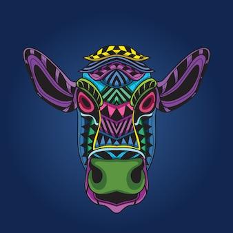 Cara de vaca en color pop.