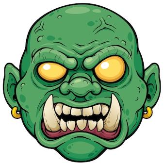Cara de zombie de dibujos animados