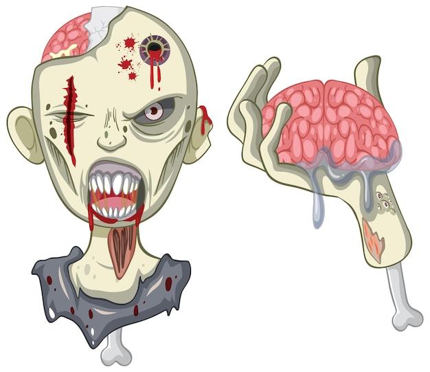 Cara de zombie espeluznante sobre fondo blanco