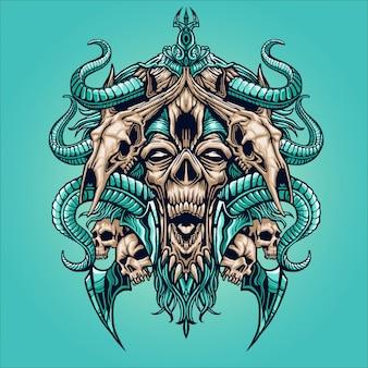 Cara de zombie con ilustración de cráneo animal