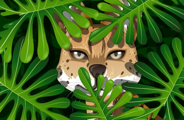 Caracal escondido en la jungla