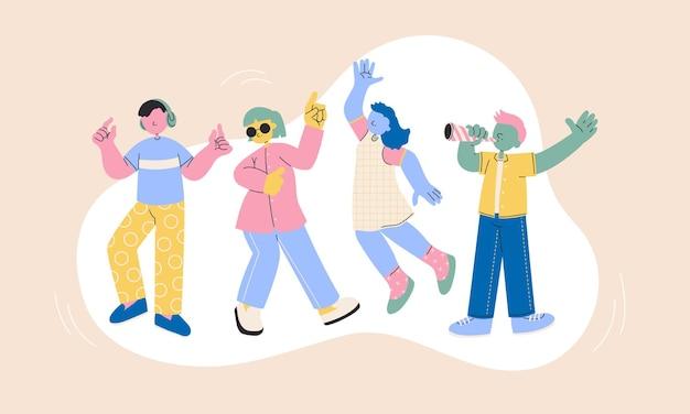 Carácter de adolescentes felices, adolescentes bailando