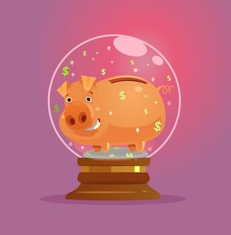 Carácter de alcancía en bola de cristal