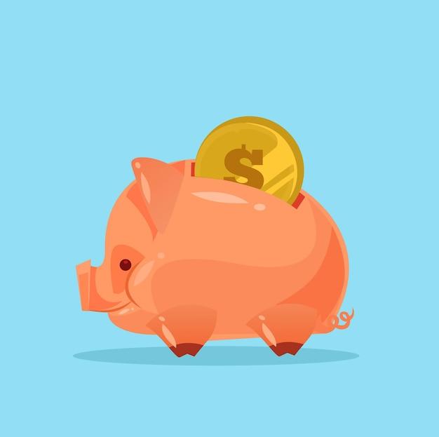 Carácter de alcancía con dinero