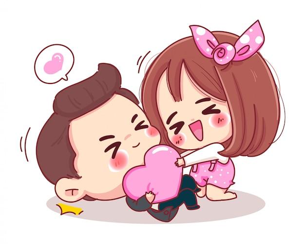 Carácter de amante jugando corazón rosa con romántico día de san valentín aislado sobre fondo blanco.