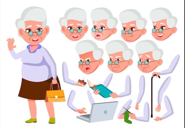 Carácter de anciana. europeo. creador de creación para animación. enfrenta las emociones, las manos.