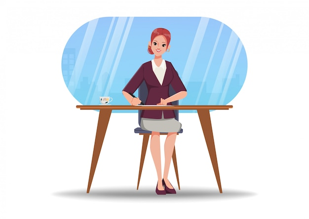 Carácter de animación empresaria escribiendo en el escritorio.