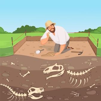 Carácter arqueológico. hombre descubrimiento geología subterránea cavando huesos de dinosaurio en capas de suelo vector de paisaje de historia. ilustración excavación arqueológica, arqueología de descubrimiento.