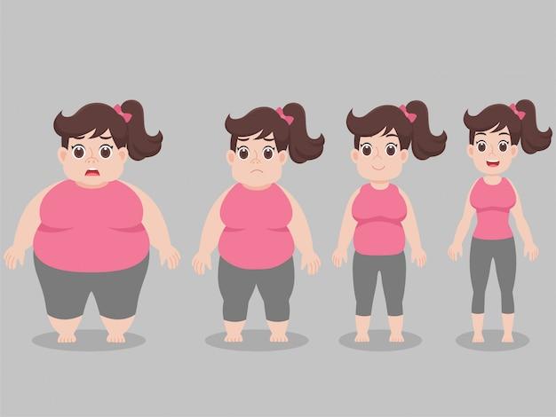 Carácter big fat woman para bajar de peso estilo de vida cuidado de la salud