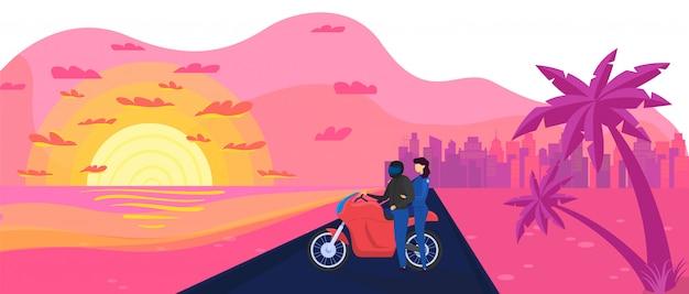 Carácter biker masculino, femenino, pareja en moto ilustración. neón, estilo vintage, puesta de sol naranja, puesta de sol, palmera, camino a la ciudad.