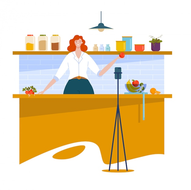 Carácter de blogger mujer, cocina corriente show en línea de internet, chica preparó comida aislada en blanco, ilustración de dibujos animados.