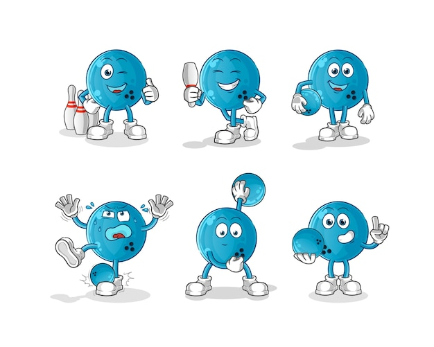 Carácter de bola de boliche. mascota de dibujos animados