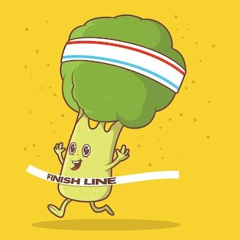 Carácter de brócoli corriendo y sonriendo ilustración.